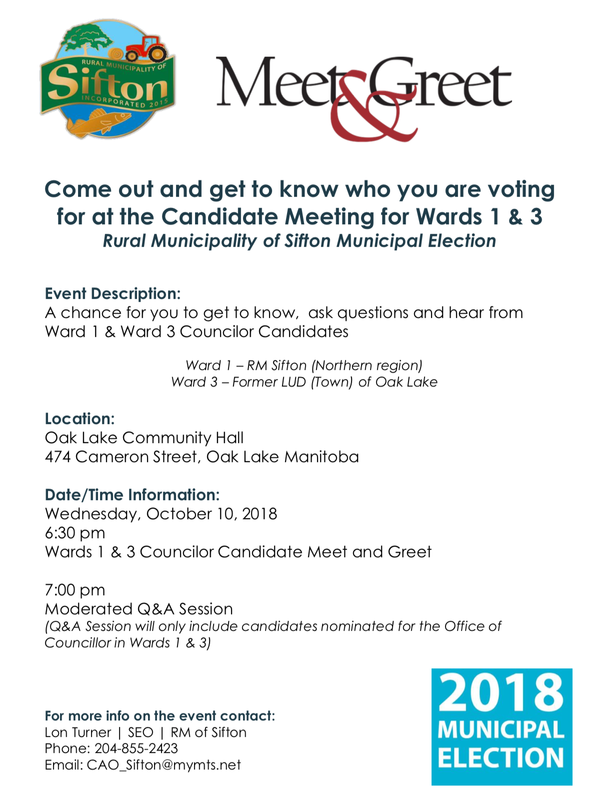 Candidate Meet And Greet Oak Lake Rm Of Sifton