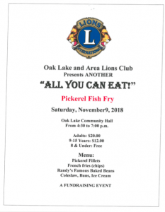 Lion's Club Fish Fry @ Oak Lake Community Hall