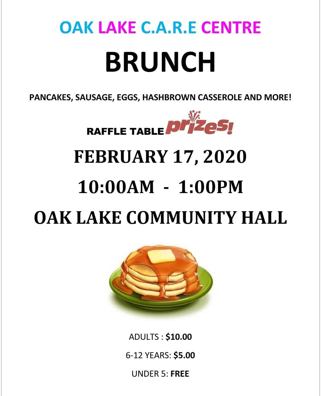Oak Lake CARE Centre Brunch @ Oak Lake Community Hall
